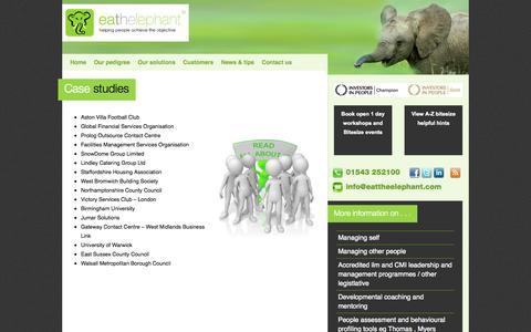 Screenshot of Case Studies Page eattheelephant.com - Case studies   on Eat the Elephant - Midlands training company, management training, people development provider - captured Oct. 22, 2014