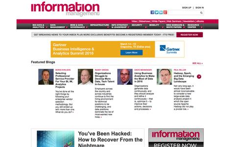 Screenshot of Home Page information-management.com - Information Management | IT Business News - captured Feb. 10, 2016