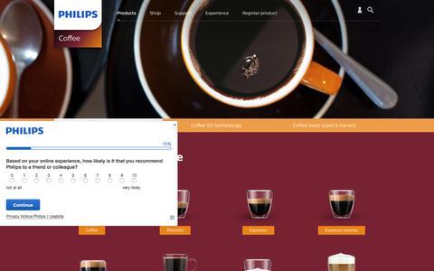 Screenshot of FAQ Page philips.com - Types of Coffee and FAQ  | Philips - captured Jan. 2, 2017