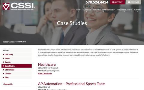 Screenshot of Case Studies Page cssi.com - Case Studies - Computer Support Services, Inc. - captured Oct. 12, 2016