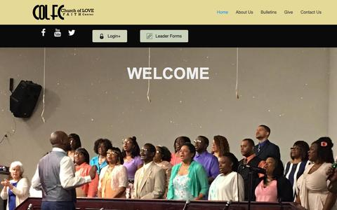 Screenshot of Home Page colfc.org - Home - Church of Love Faith Center - captured Sept. 28, 2018