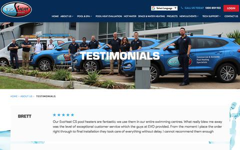 Screenshot of Testimonials Page evoheat.com.au - Testimonials - EvoHeat - captured July 15, 2019