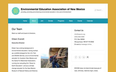 Screenshot of Team Page eeanm.org - Our Team - Environmental Education Association of New Mexico - captured Jan. 30, 2016