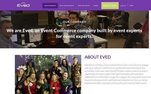 Screenshot of About Page eved.com - Our Company - Event Planning + Vendor Procurement Platform   Eved - captured Feb. 5, 2016