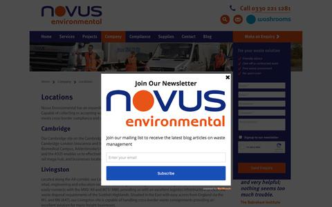 Screenshot of Locations Page novus-environmental.co.uk - Locations - Novus Environmental - captured Feb. 2, 2018