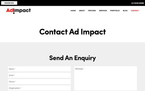 Screenshot of Contact Page adimpact.com.au - Contact Advertising Agency Ad Impact in Perth - captured July 29, 2018