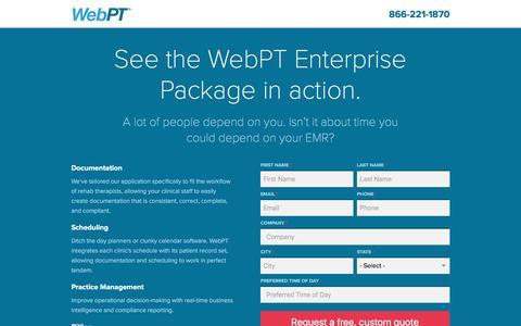 Screenshot of Landing Page webpt.com - See the WebPT Enterprise Package in action. | WebPT - captured Aug. 18, 2016