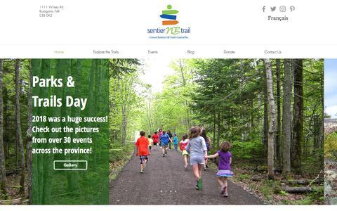 Screenshot of Home Page sentiernbtrail.com - Greenway Trails|New Brunswick|Sentier NB Trail - captured July 26, 2018