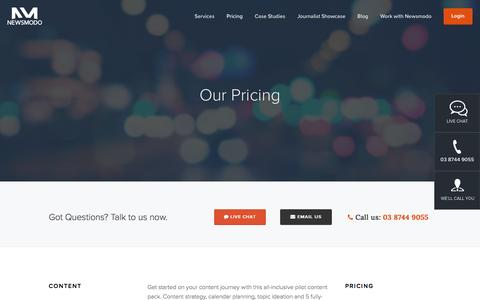 Screenshot of Pricing Page newsmodo.com - Our Pricing Ń Newsmodo | Content Marketing Agency | Sydney & Melbourne - captured Jan. 11, 2016