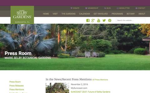 Screenshot of Press Page selby.org - Press Room - Marie Selby Botanical Gardens - captured Nov. 19, 2016