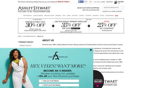 Screenshot of About Page ashleystewart.com - Ashley Stewart - captured Sept. 22, 2014