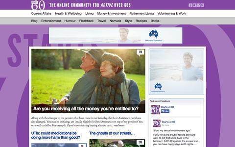 Screenshot of Home Page startsatsixty.com.au - Starts At Sixty! - captured Sept. 24, 2014