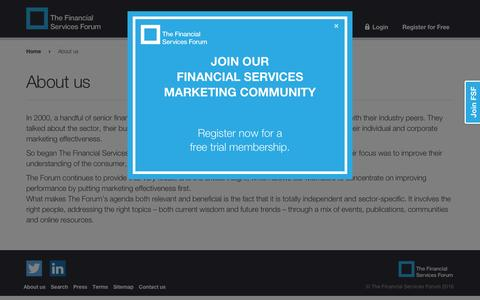 Screenshot of About Page thefsforum.co.uk - About us - The Financial Services Forum - captured Feb. 15, 2016