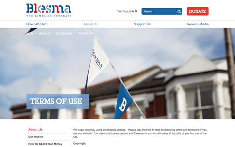 Screenshot of Terms Page blesma.org - Terms of Use - captured Oct. 9, 2017