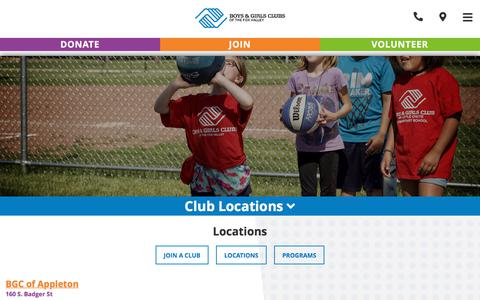 Screenshot of Locations Page bgclubfoxvalley.org - Our Clubs | Boys & Girls Club of the Fox Valley - captured July 1, 2018