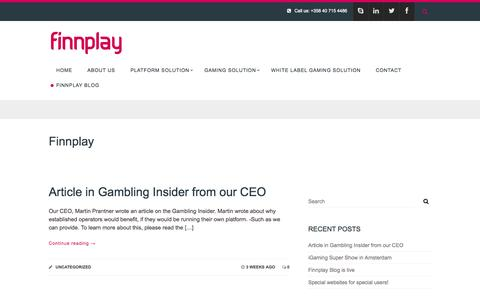 Screenshot of Blog finnplay.com - Finnplay Blog - Finnplay - captured Sept. 24, 2014