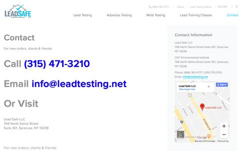 Screenshot of Contact Page leadtesting.net - Contact Lead Safe Syracuse / CNY Environmental Institute - captured Sept. 27, 2018