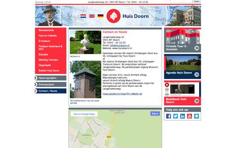 Screenshot of Contact Page huisdoorn.nl - Huis Doorn - captured Oct. 7, 2014