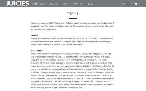 Screenshot of Terms Page juicies.com - Terms - JUICIES.COM - captured Dec. 4, 2015