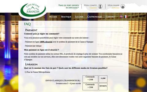 Screenshot of FAQ Page cavedejurancon.com - FAQ - Contact  - Cave de Gan / Jurançon - captured June 3, 2016