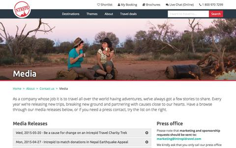 Screenshot of Press Page intrepidtravel.com - Media | Intrepid Travel US - captured Oct. 3, 2017