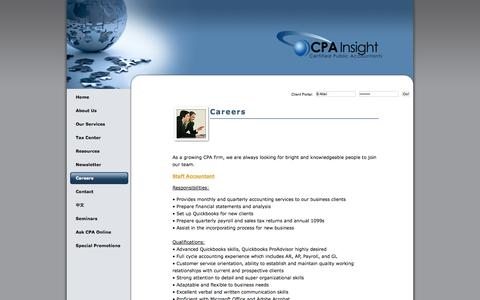 Screenshot of Jobs Page cpainsight.com - Bay Area, CA CPA Firm | Careers Page | CPA for Professionals and Startups - captured Oct. 1, 2014