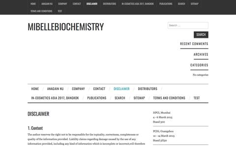Disclaimer – Mibellebiochemistry