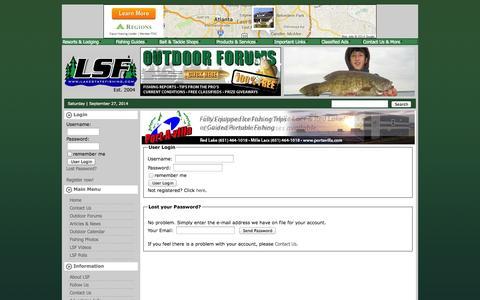 Screenshot of Login Page lakestatefishing.com - Minnesota Fishing Reports - captured Sept. 27, 2014