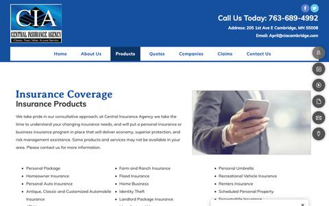 Screenshot of Products Page ciacambridge.com - Insurance - Cambridge, MN - Central Insurance Agency - captured Sept. 27, 2018