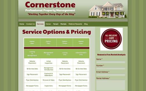 Screenshot of Services Page Pricing Page cornerstoneppm.com - - Services - captured Feb. 1, 2016