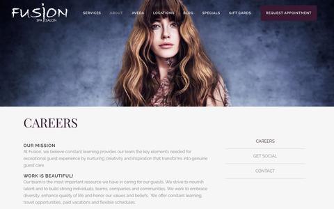 Screenshot of About Page Jobs Page fusionspasalonaveda.com - Careers | Fusion Spa Salon | Orange Beach, Pensacola Beach, and Sandestin - captured Nov. 25, 2016