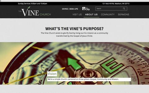 Screenshot of About Page thevinemadison.org - About - The Vine Church - Madison, WI - captured Feb. 15, 2016
