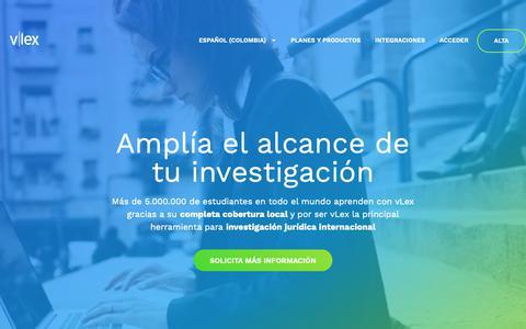 Screenshot of Home Page vlex.com.co - vLex - Información jurídica inteligente - captured Oct. 19, 2018