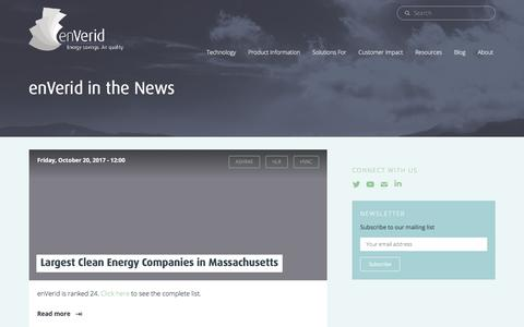 Screenshot of Press Page enverid.com - News | enVerid - captured Nov. 1, 2017