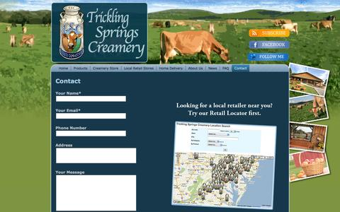 Screenshot of Contact Page tricklingspringscreamery.com - Trickling Springs Creamery: Contact - captured Dec. 5, 2015