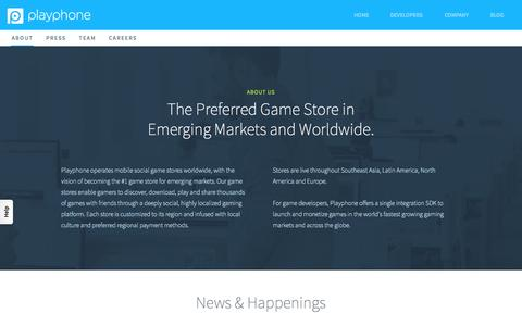 Screenshot of About Page playphone.com - About PlayPhone | Building the World's Leading Mobile Gaming Network - captured Sept. 27, 2015