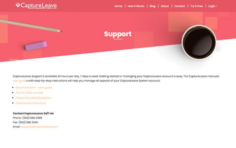 Screenshot of Support Page captureleave.com - Support: CaptureLeave Leave Management System - captured Sept. 25, 2018