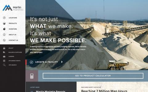 Screenshot of Home Page martinmarietta.com - Martin Marietta | Aggregates & Heavy Building Materials - captured Oct. 6, 2014