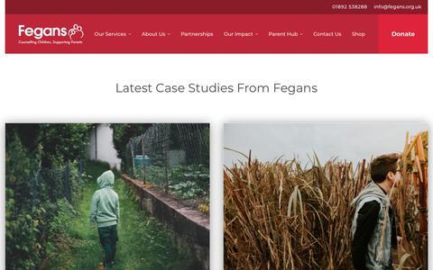 Screenshot of Case Studies Page fegans.org.uk - Case Studies | Fegans - captured Aug. 13, 2018