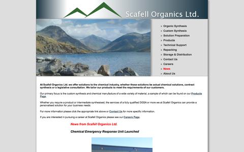Screenshot of Home Page scafellorganics.com - Scafell Organics Ltd for organic synthesis, solution preparation, technical support, repacking services, export packing and storage and distribution - captured Oct. 4, 2014