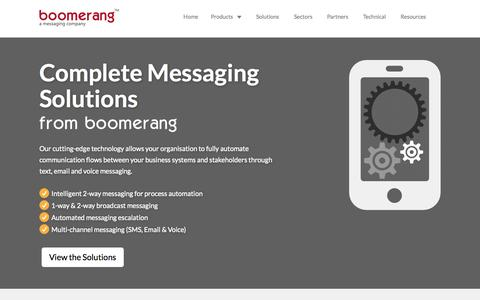 Screenshot of Home Page boomcomms.com - Boomerang : A Messaging Company - captured Sept. 13, 2015