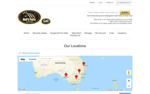Screenshot of Locations Page neils.com.au - All our locations | Neils Parts Australia - captured Oct. 19, 2018