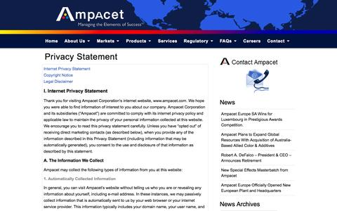 Screenshot of Privacy Page ampacet.com - Privacy Statement   Ampacet Corporation - captured Sept. 26, 2014