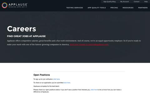 Screenshot of Jobs Page applause.com - Careers at Applause - captured Sept. 22, 2014