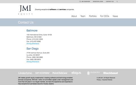 Screenshot of Contact Page jmi.com - Contact Us  |   JMI Equity - captured Sept. 23, 2014