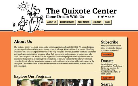 """Screenshot of About Page quixote.org - <a name=""""About Us""""> About Us </a> 