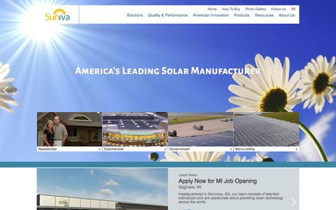 Screenshot of Home Page suniva.com - Suniva: High-power, Buy America compliant solar modules and cells from an American company. - captured Jan. 15, 2015