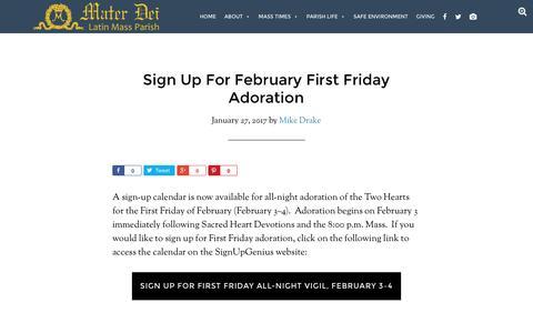 Screenshot of materdeiparish.com - Sign Up For February First Friday Adoration - Mater Dei Latin Mass Parish - captured Jan. 31, 2017
