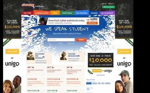 Screenshot of Home Page shmoop.com - Shmoop: Homework Help, Teacher Resources, Test Prep - captured Sept. 17, 2014