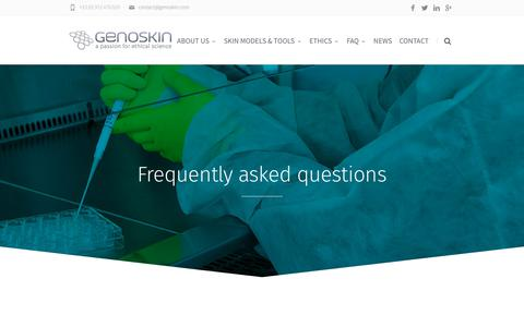 Screenshot of FAQ Page genoskin.com - Frequently asked questions - Genoskin human skin models - captured Sept. 7, 2018